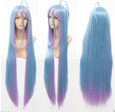 No Game No Life Shiro Cosplay Synthetic Hair Wig Blue Pink Gradient