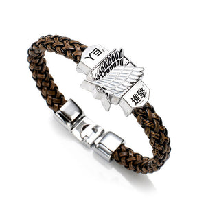 Attack On Titan Alloy Bracelet Weave Leather Bracelet