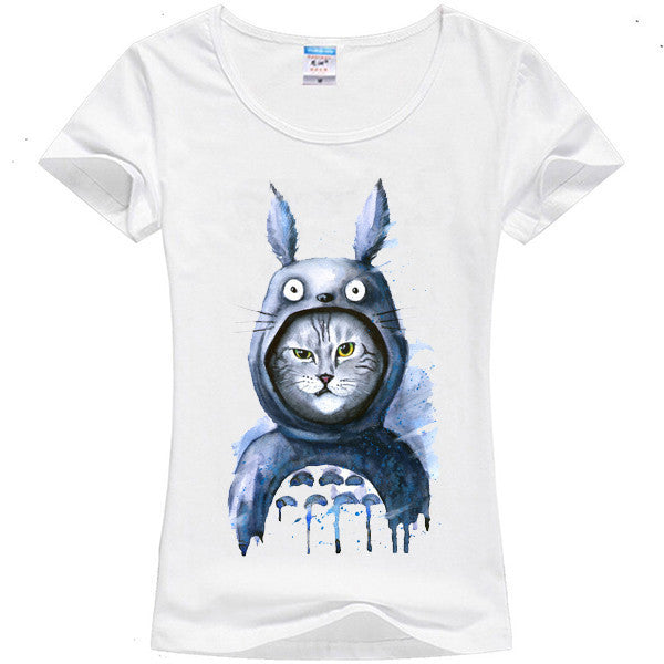 Totoro Women's Casual Cat Anime T-Shirt