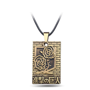 Attack On Titan Bronze Rose Metal Alloy Necklace