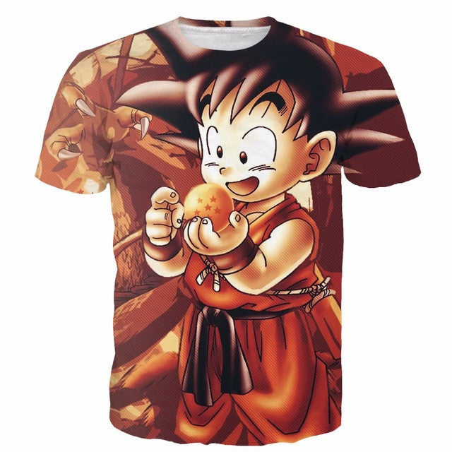 Dragon Ball Z Kid Goku Dragon Ball 3D Short Sleeve Anime T-Shirt
