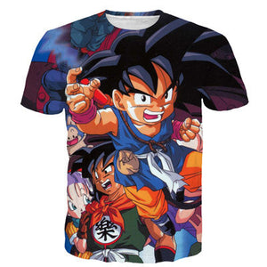 Dragon Ball Z Goku Fighting 3D Short Sleeve Anime T-Shirt