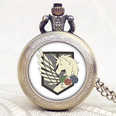 Fullmetal Alchemist Attack On Titan Flag Pocket Watch Necklace