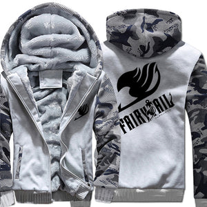 Camo Fairy Tail Anime Thick Winter Zipper Hoodie