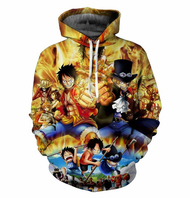 One Piece Luffy Characters 3D Fashion Anime Hoodie