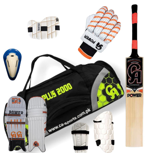 CA Power Complete Cricket Kit Set Senior Bat Gloves Pads Accessories - Men RH - BATS - CRICKET SETS
