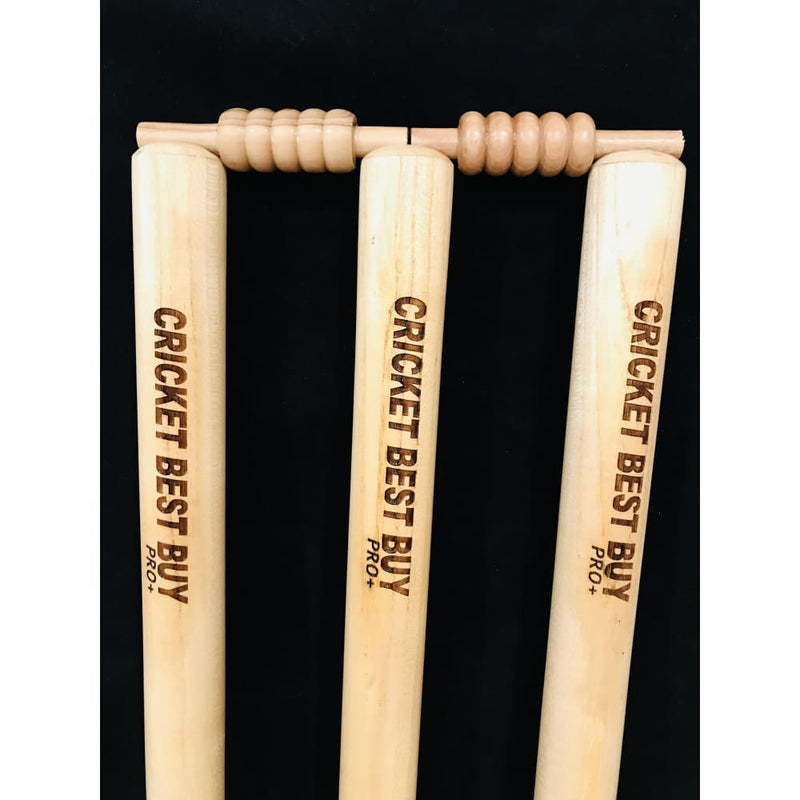 Cricket Stumps Wood Wicket Pro Plus CBB Finest Quality Set of 3 Stumps w/Bails - STUMPS & BAILS
