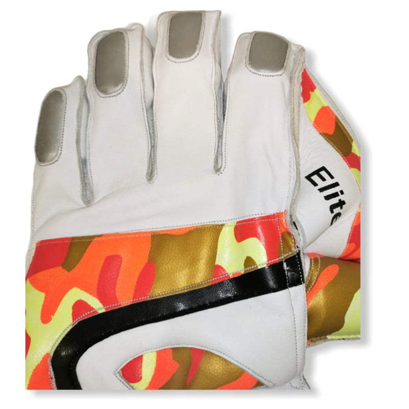 Cricket Wicket Keeping Gloves Elite White and Camo Men Size - GLOVE - WICKET KEEPING