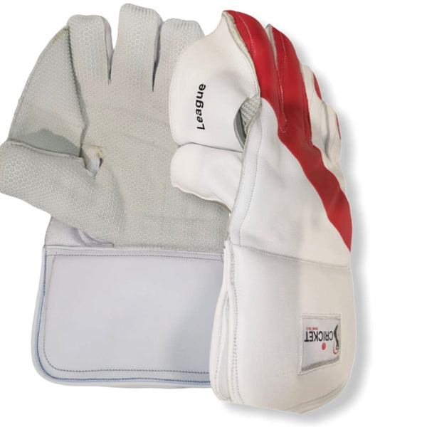 Cricket Wicket Keeping Gloves League White and Red Men Size - GLOVE - WICKET KEEPING