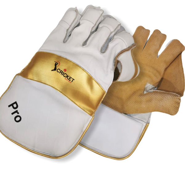 Cricket Wicket Keeping Gloves Pro Gold and White Men Size - GLOVE - WICKET KEEPING