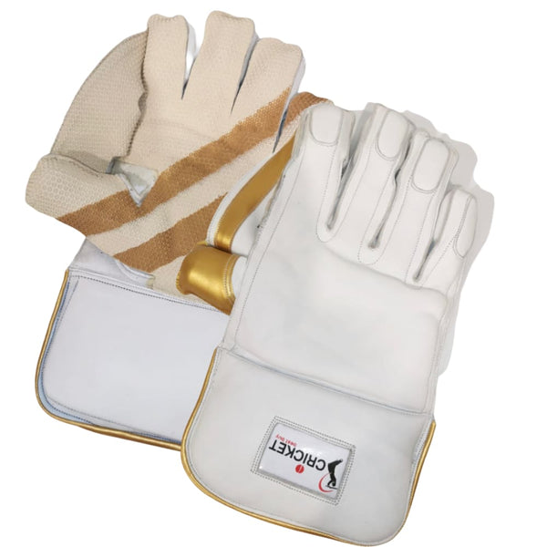 Cricket Wicket Keeping Gloves Pro Plus White and Gold Men Size - GLOVE - WICKET KEEPING