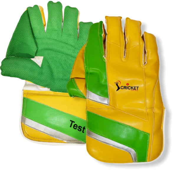Cricket Wicket Keeping Gloves Test Yellow and Green Men Size - GLOVE - WICKET KEEPING