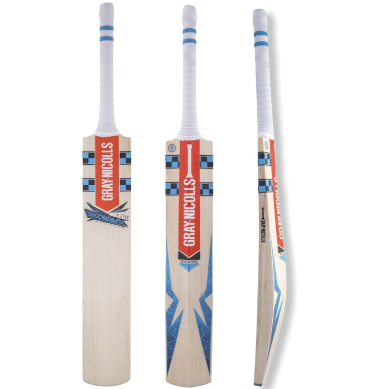 Gray Nicolls Shockwave 4 Star Cricket Bat Adult English Willow - Short Handle - BATS - MENS ENGLISH WILLOW