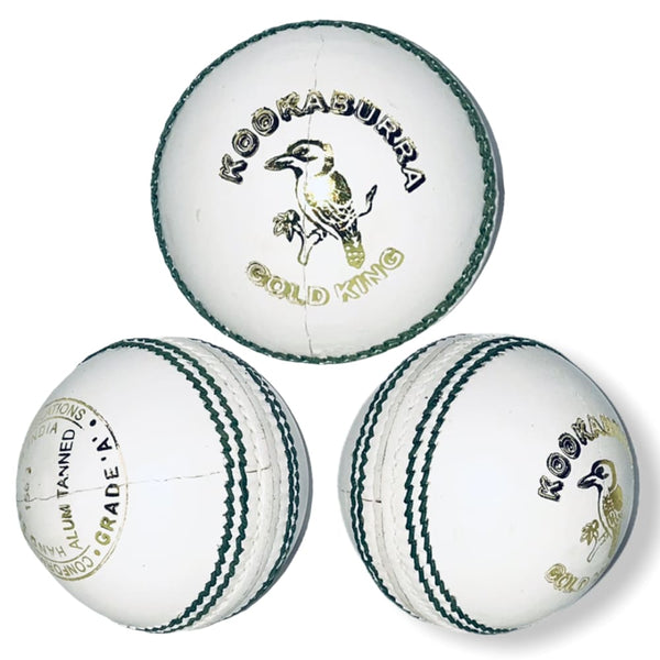 Kookaburra Gold King Cricket Ball White Senior Grade A - Senior / White - BALL - 4 PCS LEATHER