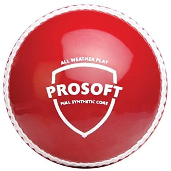 SG Prosoft Cricket Ball Full Synthetic Core All Weather Play - Red - BALL - SOFTBALL