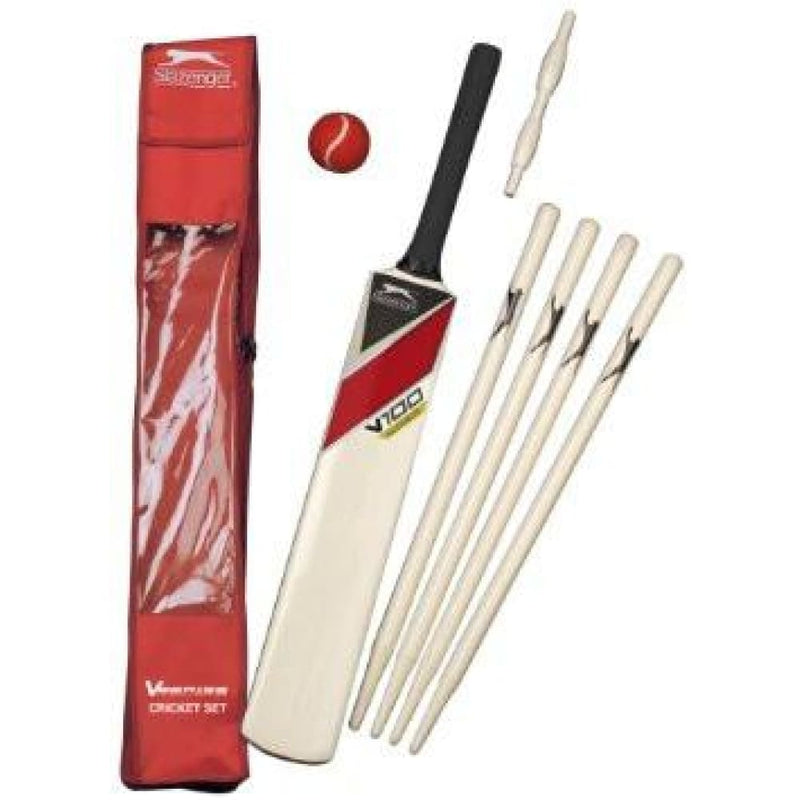 Slazenger V100 Cricket Set Wooden for Youth Size 5 10-11 Years Old - BATS - CRICKET SETS