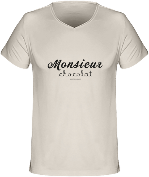 "T-shirt Col V Homme 120g  ""Monsieur Chocolat "" blanc - justchocolate"