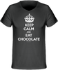 "T-shirt Col V Homme 120g bio ""Keep calm and et chocolate"" Anthracite - justchocolate"