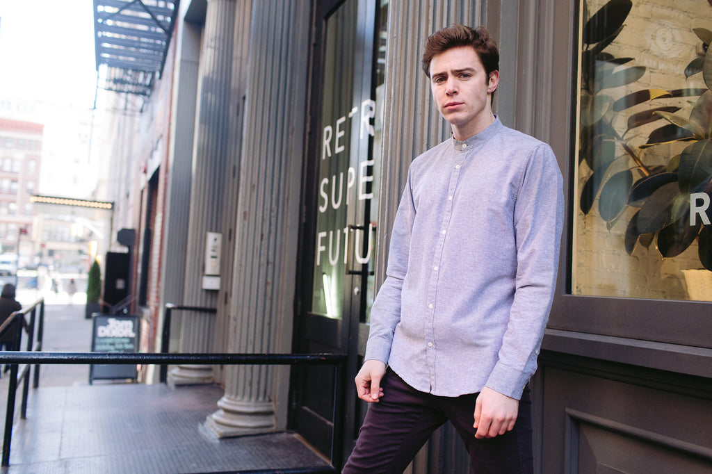 Grey Oxford Long Sleeve Shirt w/ Mandarin Collar