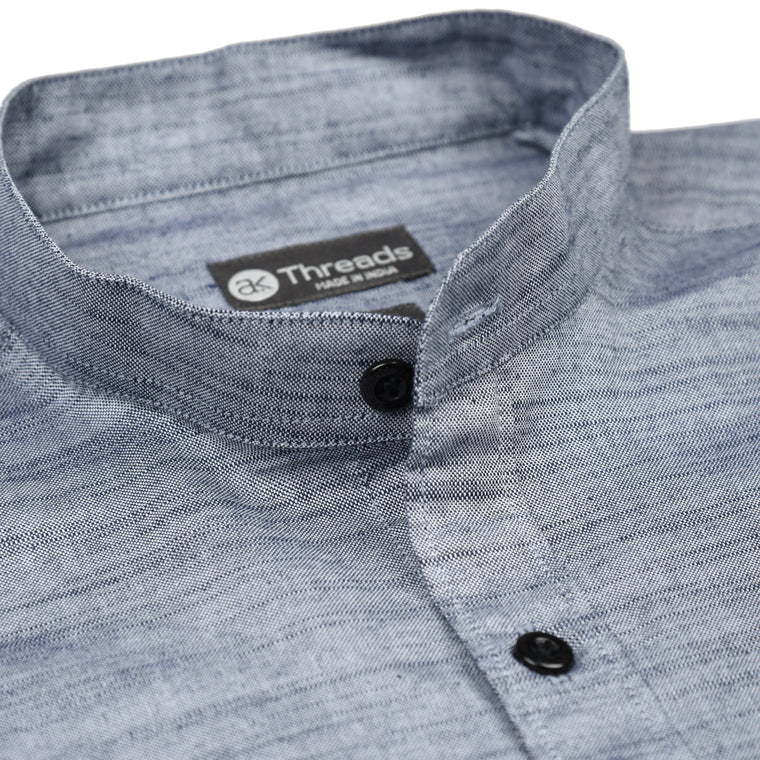 Grey Mandarin Collar Short Sleeve Shirt