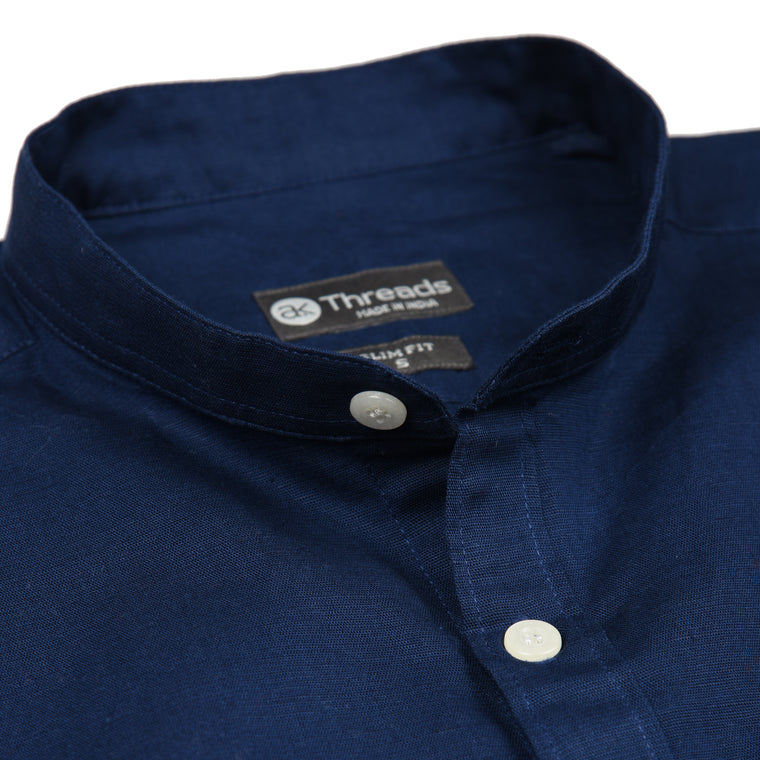Midnight Blue Mandarin Collar Short Sleeve Shirt