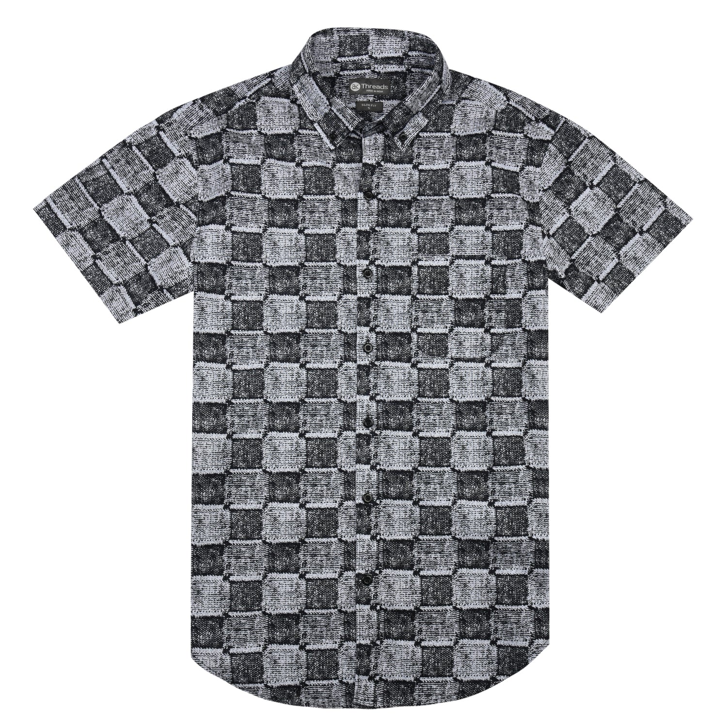 Modern Check Print Short Sleeve Shirt