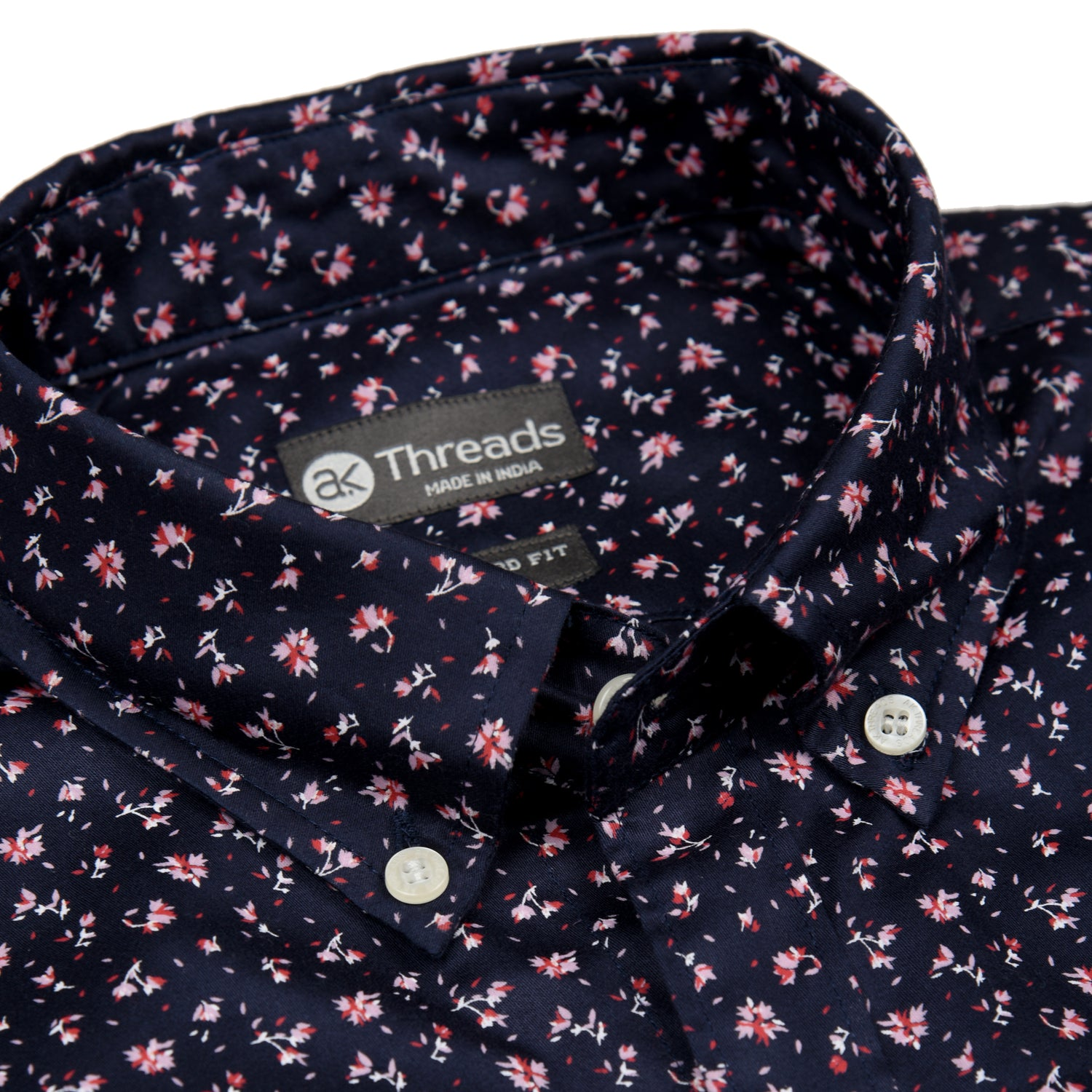 Navy Floral Short Sleeve Shirt