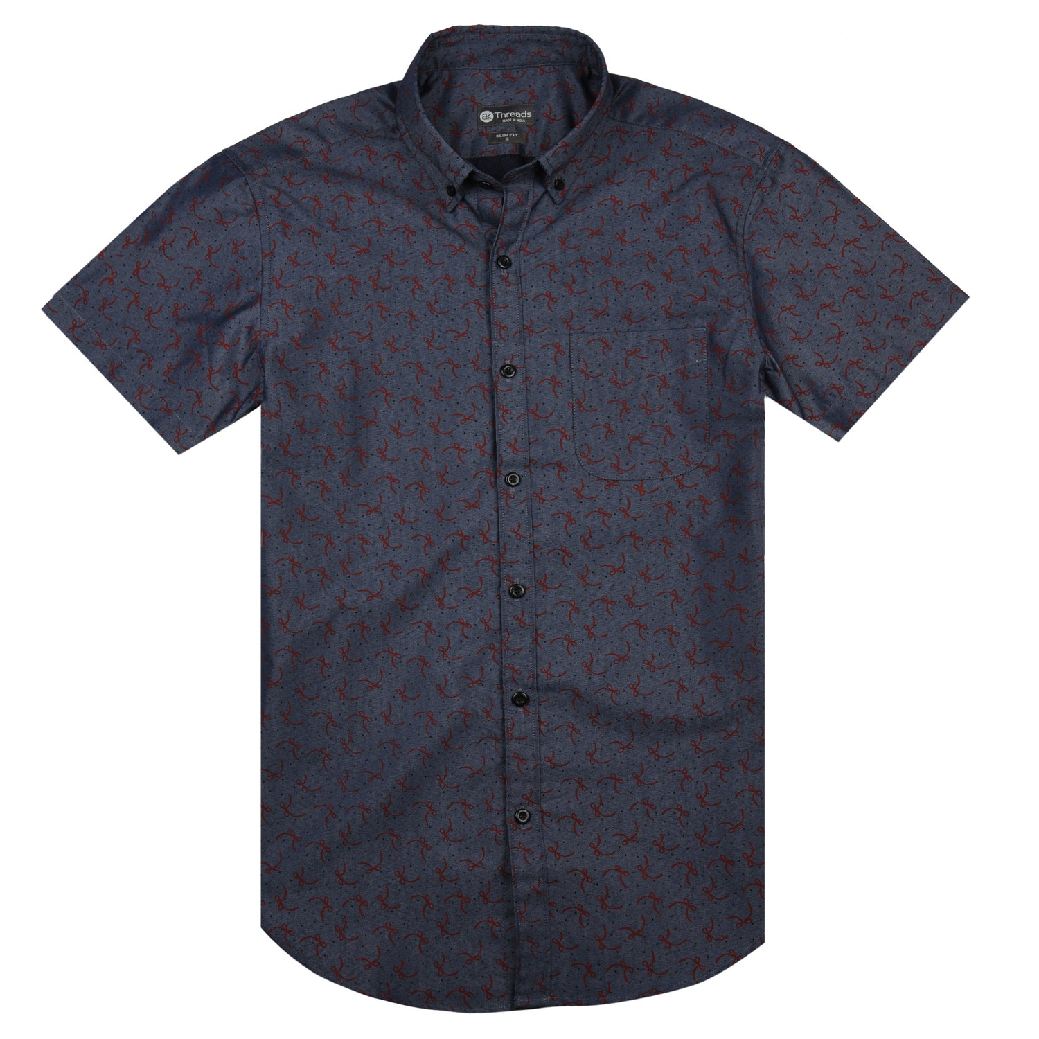 Ribbon Print Short Sleeve Shirt