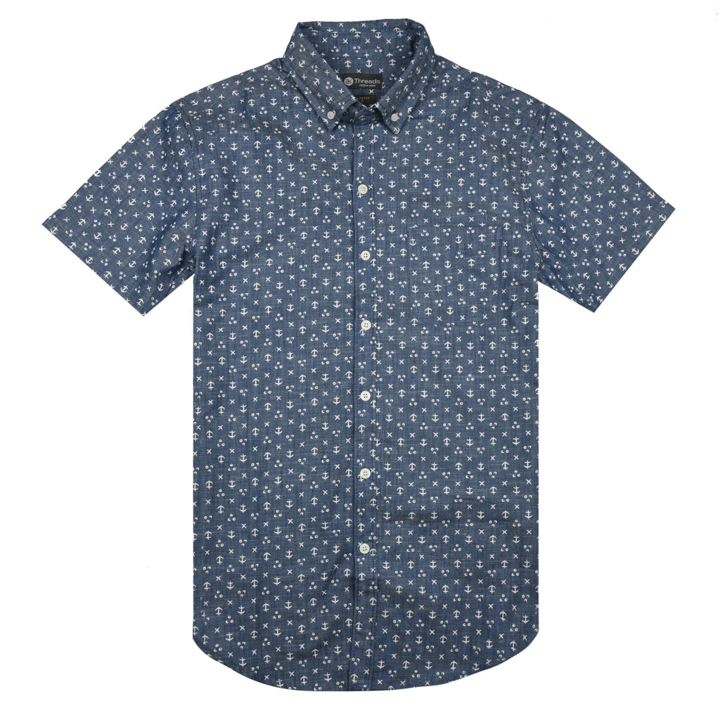 Navy Anchor Print Short Sleeve Shirt