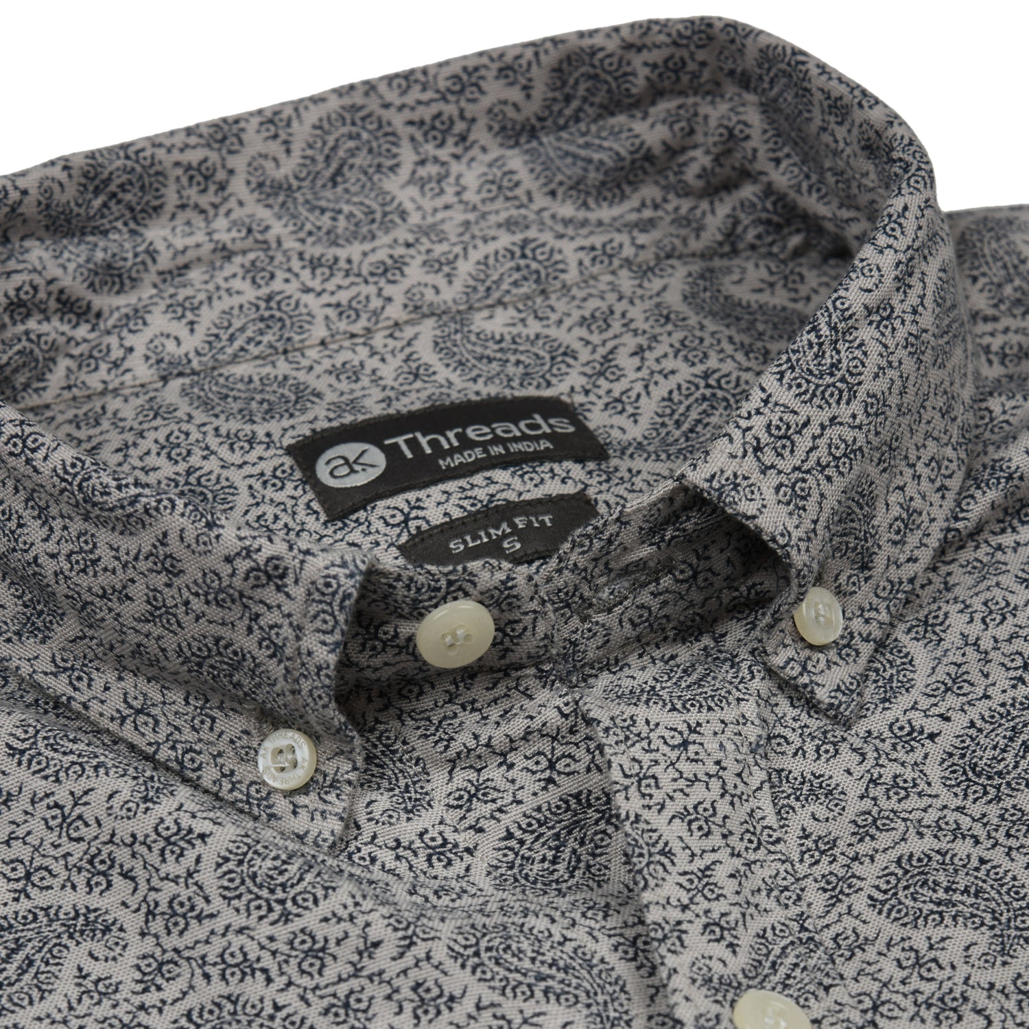 Slate Gray Paisley Short Sleeve Shirt