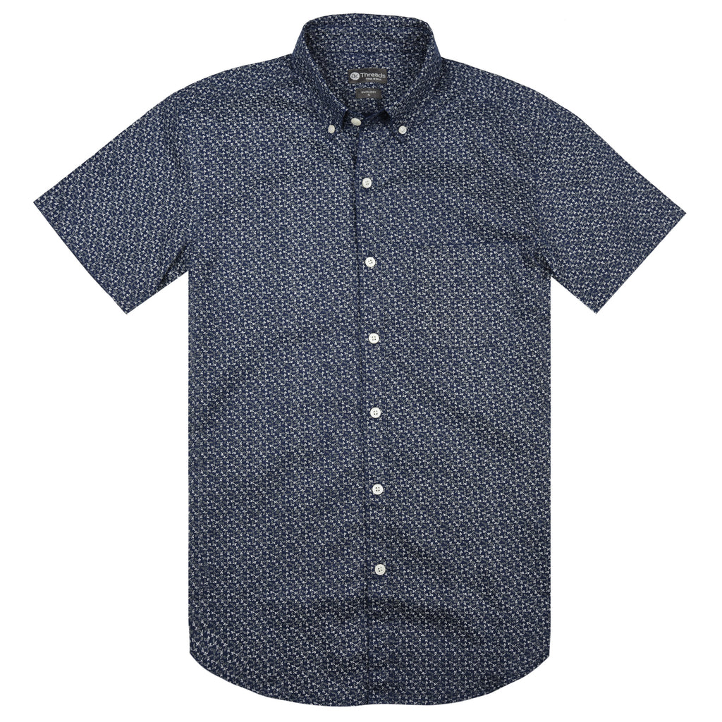 Blue Micro Print Short Sleeve Shirt