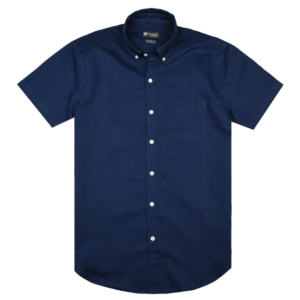 Midnight Linen Blue Short Sleeve Shirt