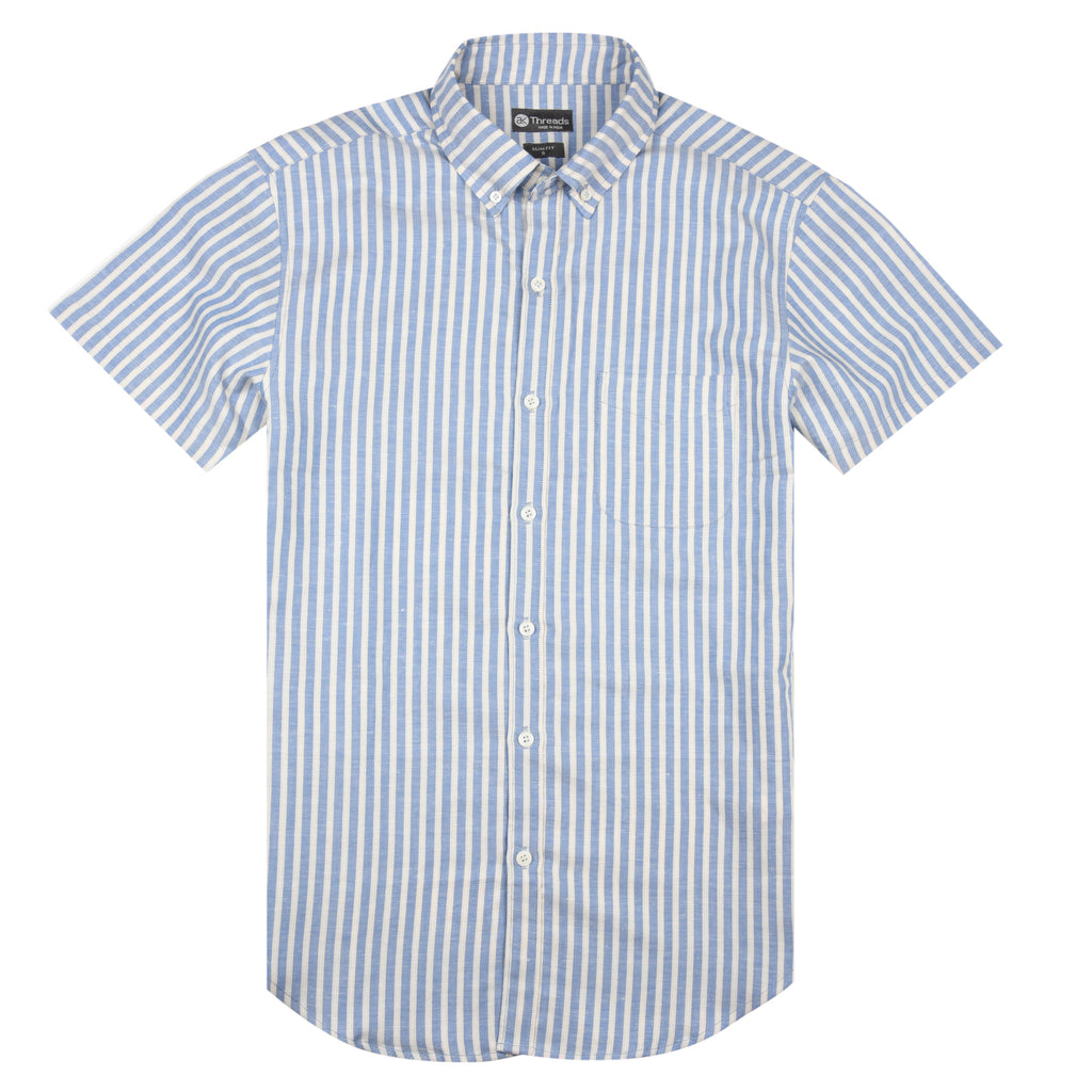 Striped Linen Short Sleeve Shirt