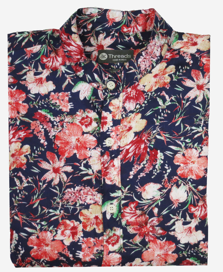 Retro Floral Long Sleeve Shirt w/ Mandarin Collar