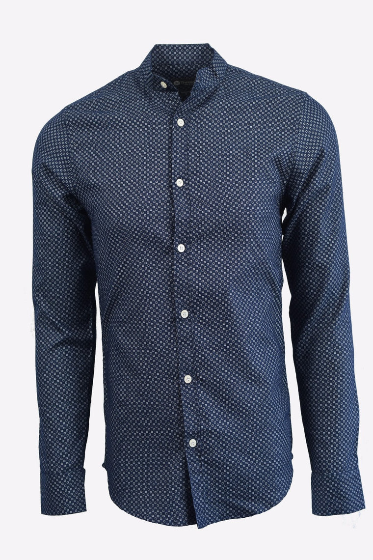 Blue Micro Print Long Sleeve Shirt w/ Mandarin Collar