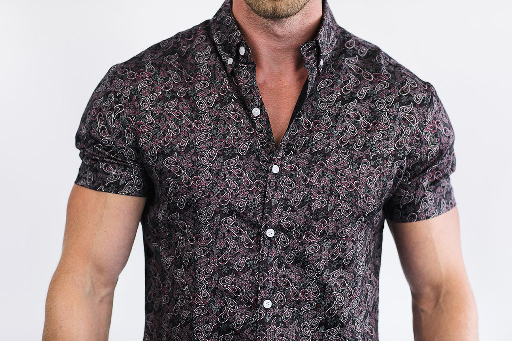 black paisley print shirt