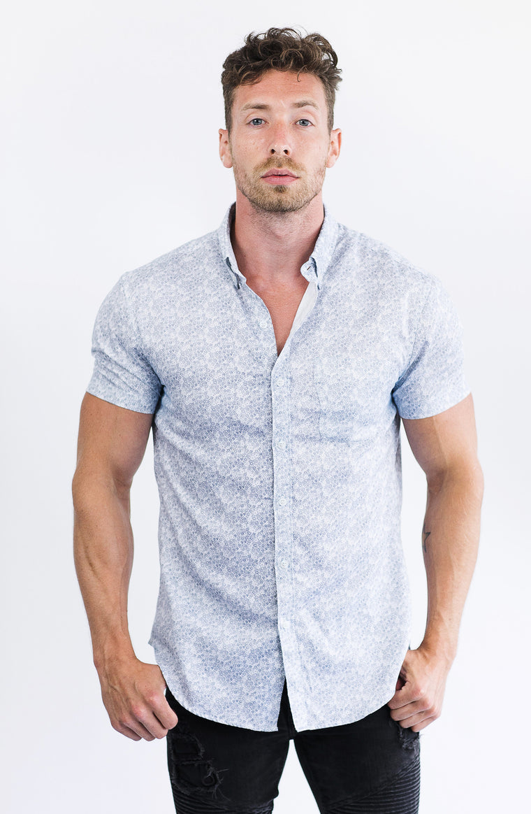 White Micro-Floral Short Sleeve Shirt