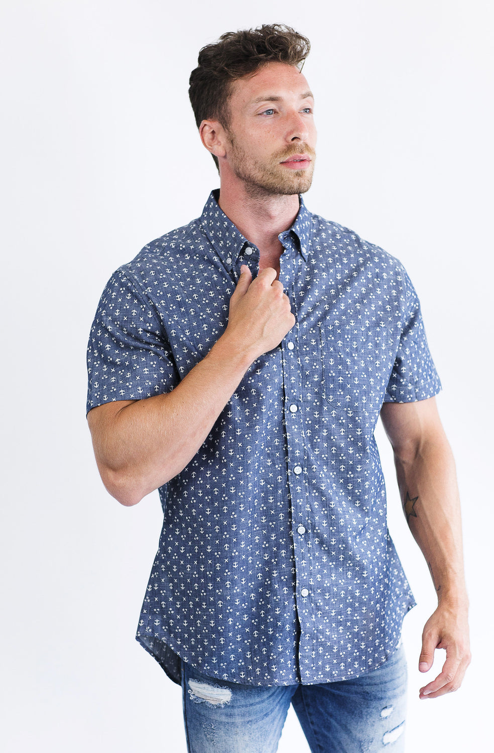 anchor print shirt