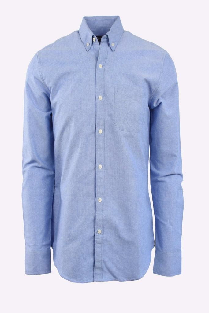 Textured Blue Oxford Long Sleeve Shirt