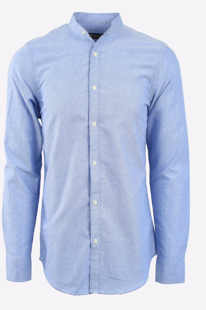 Textured Blue Oxford w/ Mandarin Collar