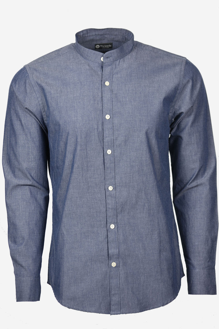Chambray Blue Long Sleeve Shirt w/Mandarin Collar