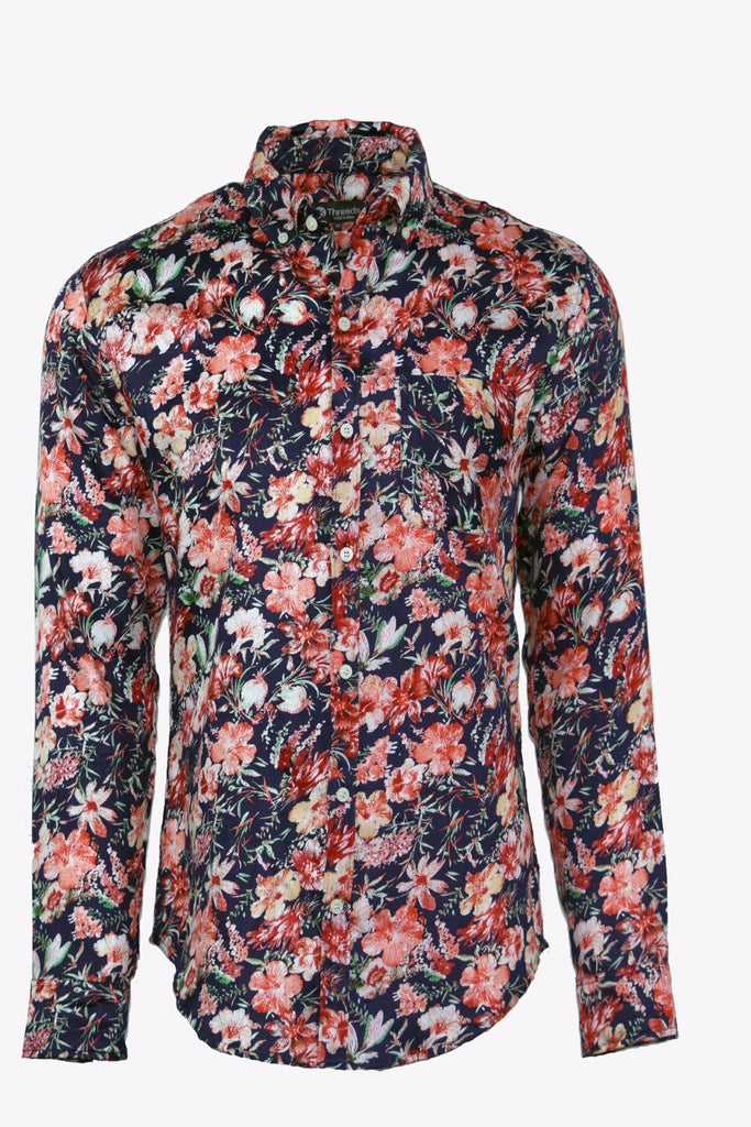 Retro Floral Long Sleeve Shirt