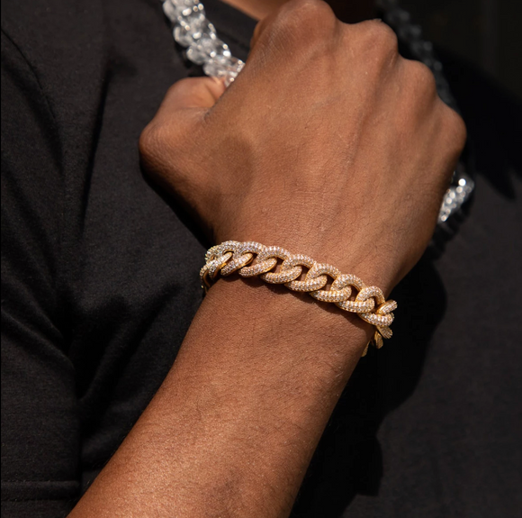 ICED OUT GOLD RAPPER ROYAL CUBAN LINK BRACELET