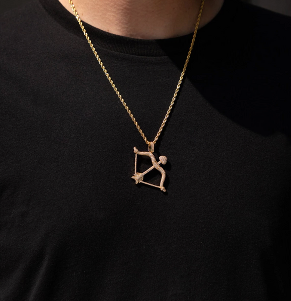 ICED OUT GOLD BOW PENDANT