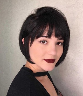 Gorgeous bob cut hairstyle on length with long bangs