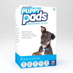 23 x 24 Medium 6 Layer Doggy Training Puppy Pads with Super Absorbency - 100 Count