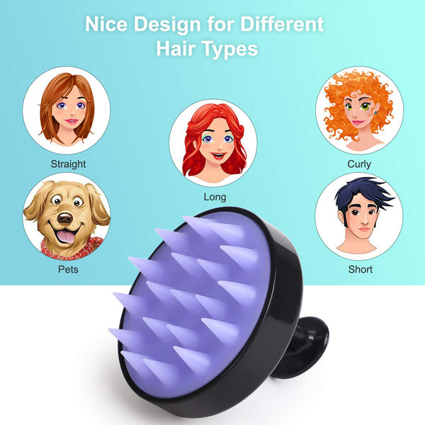 Hair Shampoo Brush, Heeta Scalp Care Hair Brush with Soft Silicone Scalp Massager (Black)