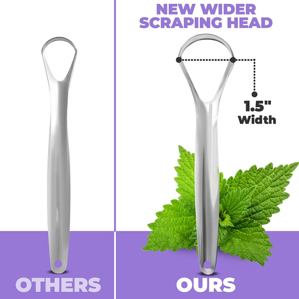 Tongue Scraper (2 Pack), Reduce Bad Breath (Medical Grade), Stainless Steel Tongue Cleaners, 100% BPA Free Metal Tongue Scrapers Fresher Breath in Seconds