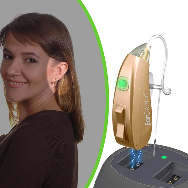 EarCentric EasyCharge Rechargeable Hearing Aid with charing base | FDA approved Behind-the-Ear hearing aid assist amplifiers