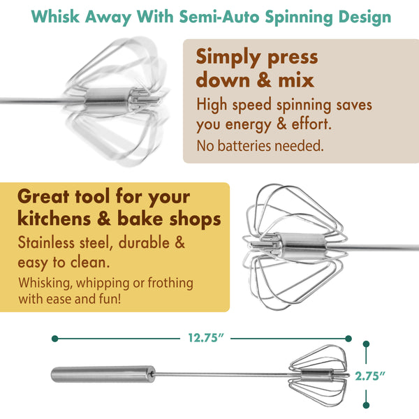 Stainless Steel Semi-Automatic Whisk Egg beater Blending and Stirring